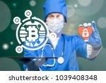 doctor offers tablet computer...   Shutterstock . vector #1039408348