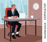 angry businessman sitting on...   Shutterstock .eps vector #1039416769
