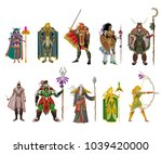 role videogame classes warrior | Shutterstock .eps vector #1039420000