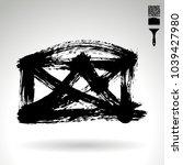 black brush stroke and texture. ... | Shutterstock .eps vector #1039427980