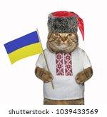 the cat patriot in the cossack... | Shutterstock . vector #1039433569
