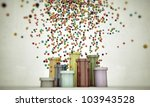 colored pipes spitting balls isolated on white background - stock photo
