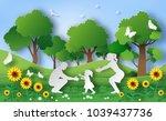 paper art style of family enjoy ... | Shutterstock .eps vector #1039437736