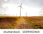 rural landscape with wind... | Shutterstock . vector #1039442464