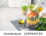salad in a mason jar | Shutterstock . vector #1039444153