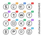 currency signs. money vector... | Shutterstock .eps vector #1039446403