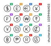 currency signs. money vector... | Shutterstock .eps vector #1039446403