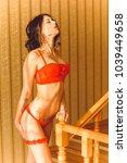 sexy beautiful girl in black... | Shutterstock . vector #1039449658