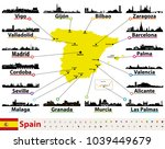 vector map of spain with... | Shutterstock .eps vector #1039449679