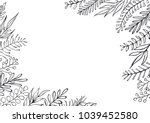black and white floral hand... | Shutterstock .eps vector #1039452580