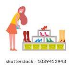 woman near big shoes rack full...   Shutterstock .eps vector #1039452943