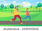 mother and daughter jogging in... | Shutterstock .eps vector #1039453033