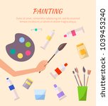 painting poster with watercolor ... | Shutterstock .eps vector #1039453240