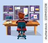 vector cartoon male trader ... | Shutterstock .eps vector #1039453258