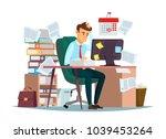 man overwork in office ... | Shutterstock .eps vector #1039453264