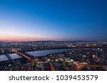 night skyline of osaka city... | Shutterstock . vector #1039453579