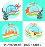 india symbols on posters set.... | Shutterstock .eps vector #1039453858