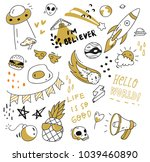 set of cute doodle isolated on... | Shutterstock .eps vector #1039460890