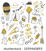 set of cute doodle isolated on... | Shutterstock .eps vector #1039460893