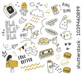 set of cute doodle isolated on... | Shutterstock .eps vector #1039460899