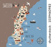 sweden cartoon vector travel... | Shutterstock .eps vector #1039460983