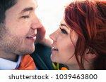 wedding snowboarders couple...   Shutterstock . vector #1039463800