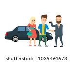 couple shaking hands with... | Shutterstock .eps vector #1039464673