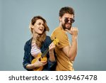 ukulele  couple  friends        ... | Shutterstock . vector #1039467478