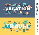 travel and vacation set of flat ... | Shutterstock .eps vector #1039468954