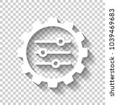 setting icon in gear. white... | Shutterstock .eps vector #1039469683
