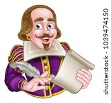 william shakespeare cartoon... | Shutterstock .eps vector #1039474150
