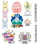 set of easter bunny... | Shutterstock .eps vector #1039483840