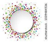 colorful confetti round banner...   Shutterstock .eps vector #1039484536