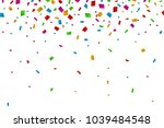 colorful confetti falling on... | Shutterstock .eps vector #1039484548