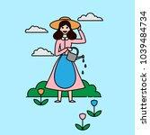 outline happy gardener woman... | Shutterstock .eps vector #1039484734