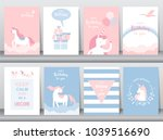set of birthday cards poster... | Shutterstock .eps vector #1039516690