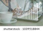 businesswoman analytics and... | Shutterstock . vector #1039518844