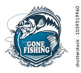 fishing bass logo. bass fish... | Shutterstock .eps vector #1039519960
