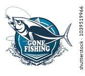 tuna big fishing logo... | Shutterstock .eps vector #1039519966