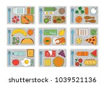 set lunches on a tray. line... | Shutterstock .eps vector #1039521136