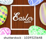 easter eggs on a wooden table.... | Shutterstock .eps vector #1039525648