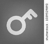 key sign. vector. white knitted ... | Shutterstock .eps vector #1039529893