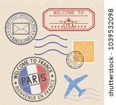 colored set of postmarks and... | Shutterstock . vector #1039532098