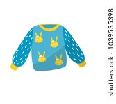blue little sweater with... | Shutterstock .eps vector #1039535398