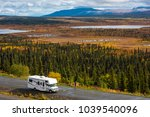 rv  motorhome  caravan parking... | Shutterstock . vector #1039540096