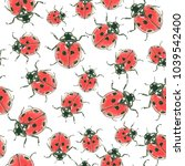 ladybugs  painted with ink and... | Shutterstock . vector #1039542400