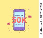 50k followers thank you phrase... | Shutterstock .eps vector #1039550908