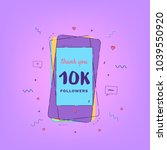10k followers thank you card... | Shutterstock .eps vector #1039550920