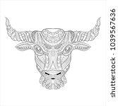 bull zentangle style on white... | Shutterstock .eps vector #1039567636