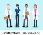 medical team and staff  vector... | Shutterstock .eps vector #1039569370